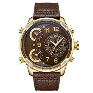 BW Luxury Men's G4 0.16 Carat Diamond Wrist Watch with Leather Bracelet