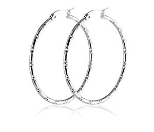 Bamboo Textured Silver Hoops Earrings Stainless Steel loops Earring Hoops for Women Gifts Dia40mmW2mm