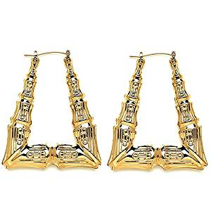 Belle Pink Gold Tone Hollow Casting Triangular Bamboo Hoop Earrings, 2 Inches