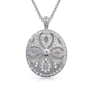 Bling Jewelry Vintage Cutout CZ Locket Rhodium Plated Necklace 18 Inches