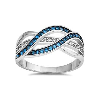Blue Apple Co. Half Eternity Weave Knot Ring Crisscross Round CZ 925 Sterling Silver Choose Colour