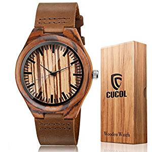 CUCOL Wooden Watches For Men Casual Watch Brown Cowhide Leather Strap With Box Father's Day Gift 4.6 out of 5 stars 162 customer review