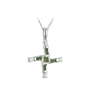 Connemara Marble St Brigids Cross Sterling Silver Irish Made