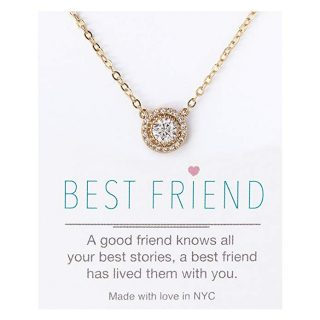 "Crystal Pendant Necklace in Silver, Yellow Gold or Rose Gold, Gift for Best Friend, 16"" with 2"" Extension"