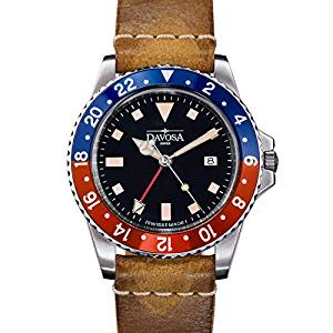 Davosa Professional Men Watch, Quality Swiss Made Quartz, GMT Dual Time Analog Dial, Luxury Vintage Leather Fashion Wrist Band