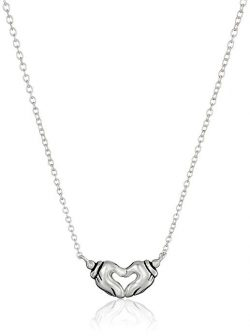 """Disney Mickey Mouse Hands Forming A Heart Pendant Necklace, 16.5""""+ 2"""" Extender"""