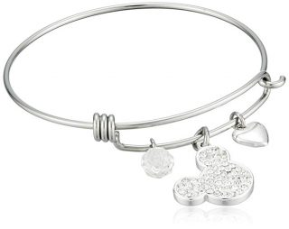 Disney Stainless Steel Catch Bangle with Silver Plated Crystal Mickey Mouse Head, I Love Mickey Heart and Crystal Bead Charm Bangle Bracelet