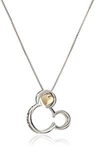 Disney Sterling Silver and 10k Gold Mickey Mouse If you Can Dream It you Can Do It Pendant Necklace