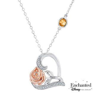 Enchanted Disney Fine Jewelry Belle's Rose and Heart Diamond Pendant 1 10ctw