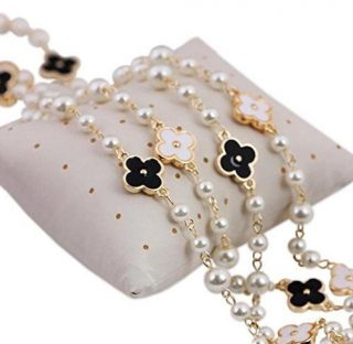 Fashion Jewelry MISASHA bridal chic Long imitation pearl clover strand necklace