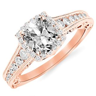 GIA Certified 1.45 Carat Cushion-Cut 14K White Gold Vintage Sidestone Diamond Engagement Ring with Milagrain half Bezel Baguette with a 0.70 Carat, D-E Color, VVS1-VVS2 Clarity Center Stone