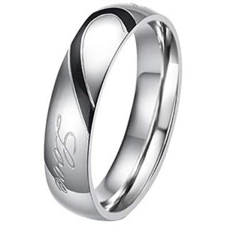 """His or Hers (Priced Separate)""""Real Love"""" Heart Stainless Steel Band Ring Promise Ring Valentine Love Couples Wedding Engagement"""
