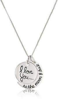 "Sterling Silver""I love you to the moon & Back"" Pendant Necklace, 18-Inch"