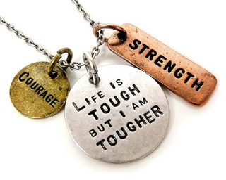 Jewelry Nexus Life is Tough But I Am Tougher Three Tone Antique Stamped Pendant Charm Necklace
