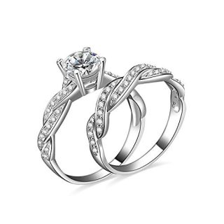 JewelryPalace 1.5ct Infinity Cubic Zirconia Simulated Diamond Anniversary Promise Wedding Band Engagement Ring Bridal Sets 925 Sterling Silver
