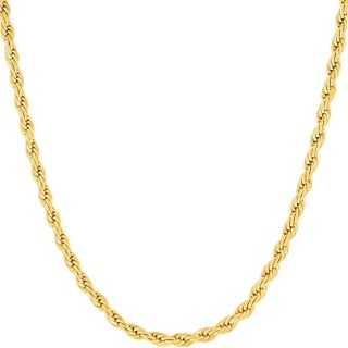 Lifetime Jewelry Gold Rope Chain for Women & Men [3mm] – Up to 20X More 24k Real Gold Plating Than Other Pendant Necklaces Chains – Durable Statement Necklace – 16 to 30 inches