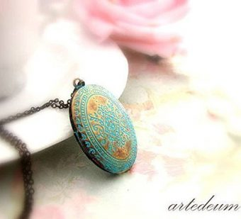 Locket Necklace with blue Moroccan carvings in antique bronze Vintage style oval photo box