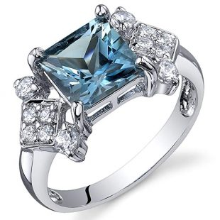London Blue Topaz Princess Cut Ring Sterling Silver Rhodium Nickel Finish 2.00 Carats Sizes 5 to 9