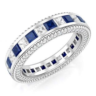 Metal Factory 925 Sterling Silver Princess Cut Blue & White Cubic Zirconia CZ Eternity Band Ring