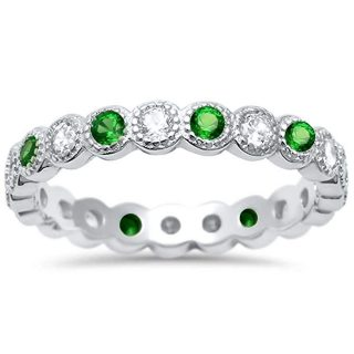 Oxford Diamond Co Simulated Gemstone & Cubic Zirconia Antique Style Bezel Set Eternity Stackable 925 Sterling Silver Ring Sizes 4-10.