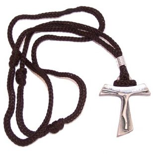 Pewter Tau Cross Necklace ( 1.5 inches Tau and 2 x 13 inches neckalce )