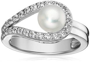 Platinum-Plated Sterling Silver Cubic Zirconia Freshwater Cultured Pearl Ring