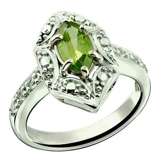 RB Gems Sterling Silver 925 Ring GENUINE GEMSTONE Marquise Shape 0.70 Carat with Rhodium-Plated Finish