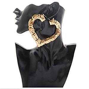 SOURBAN Women Hip-hop Heart Hollow Casting Bamboo Hoop Earrings