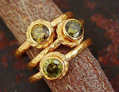1 pcs Ancient Roman Art Peridot Stack Ring 24k Gold Over Sterling Silver By Omer