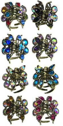 Set of 8 Mini Jaw Clips Claw Clips Decked w. Sparkling Crystals
