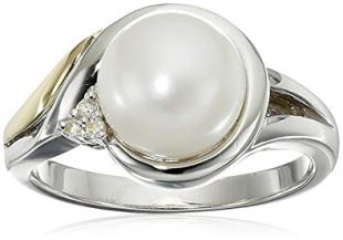 Sterling Silver, 14k Yellow Gold, Freshwater Cultured Pearl (8-8.5mm), and Diamond Ring