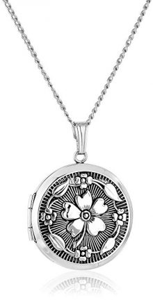 Sterling Silver Embossed Antique-Finish Locket Necklace, 20