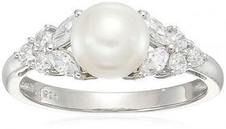 Sterling Silver Freshwater Cultured White Pearl and White Cubic Zirconia Ring