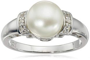 Sterling Silver, Freshwater Cultured White Pearl, and White Topaz Ring (9-9.5mm)