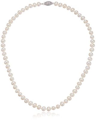Sterling Silver White Freshwater Cultured A Quality Pearl Necklace