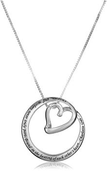 "Sterling Silver""Children and Mothers.Bound in the Beating of Each Other's Heart-Charlotte Gray"" Circle Heart Pendant Necklace"