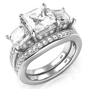 Sz 9 Sterling Silver 925 Princess Cut CZ Cubic Zirconia Halo Engagement Ring