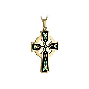 Tara Gold Celtic Cross Necklace 18K Plated & Black Enamel Made in Ireland