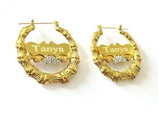 Tina&Co Personalized Name Earring Custom Round Bamboo Hoop Earrings with Yellow Gold Overlay For Women
