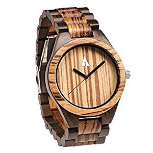 Treehut Men's Zebrawood and Ebony Wooden Watch with All Wood Strap Quartz Ana...