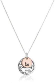 "Two-Tone Sterling Silver ""Be"" Graffiti Charm Necklace"