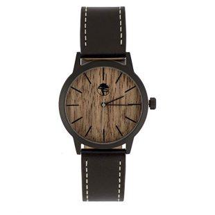 Viable Harvest Men's Wood Watch Walnut Waterproof Black Steel Case Quartz Movement Genuine Leather Strap