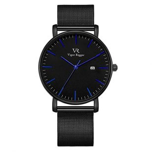 Vigor Rigger Men's Stainless Steel/Genuine Leather Watches, Japanese Quartz Movement and Mineral Crystal Lens,30M Waterproof Watches.