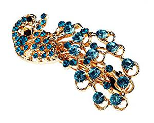 Vintage Blue Fashion Jewelled Rhinestone Crystal Peacock Hair Pin Slide By VAGA