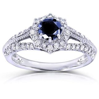 Vintage Sapphire & Diamond Engagement Ring 1 Carat (ctw) in 14k White Gold