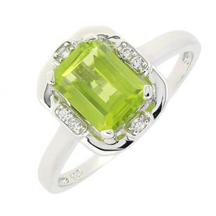 Vintage Style Sterling Silver Emerald Cut Genuine Peridot Ring (1.7 CT.T.W)