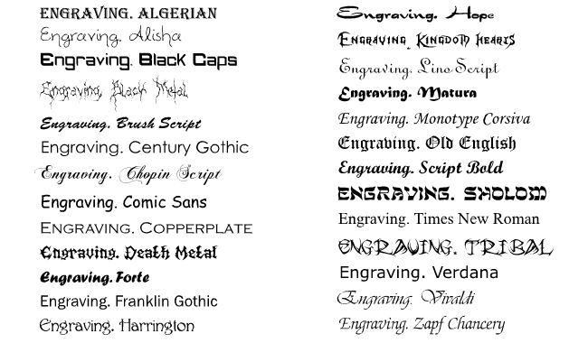 engraving font jewelry