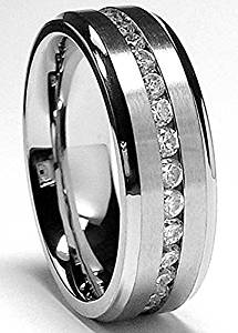 Metal Masters Co. 7MM Men's Eternity Titanium Ring Wedding Band with Cubic Zirconia CZ sizes 5 to 13