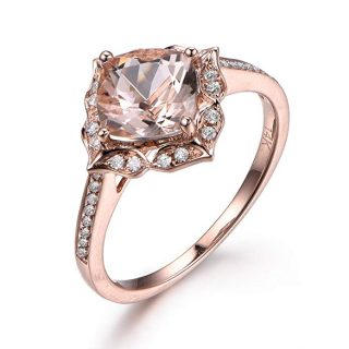 6.5mm Cushion Morganite Engagement Ring,14K Rose Gold, Vintage Floral Design, Diamond Wedding, Bridal Ring