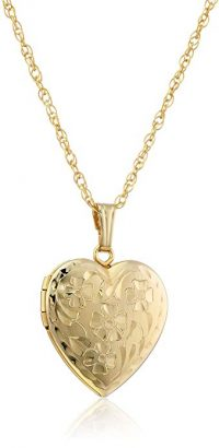 Yellow Gold-Filled Engraved Flowers Heart Pendant
